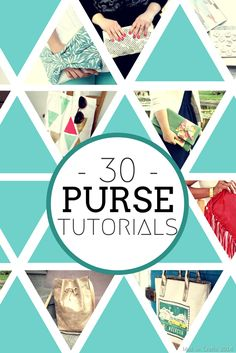 30 of my favorite bag tutorials: purses, totes, and clutches!  Mad in Crafts