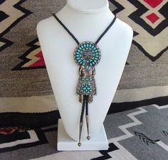 1940's–50's Vintage Native American Zuni Sun Face 5 in. KACHINA Bolo Tie Turquoise Sterling Signed Man or Woman
