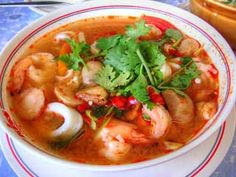 Tom Yam soup, I make it Malaysian style with rice noodles. Amazing.
