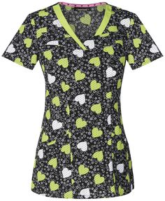 de5ac7eb97e V-Neck Top in Young Love Lime Dream from Cherokee Scrubs at Cherokee 4 Less