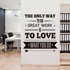Gran trabajo es el amor oficina decoración tipografía