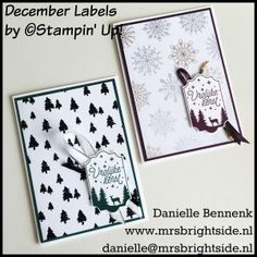 December Labels, merry little labels, year of cheer DSP Sneak Peek/Spotlight project 1 - Mrs. Brightside - Danielle Bennenk Stampin' Up!