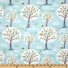 Michael Miller Backyard Baby Windy Day Aqua from Designed by Patty Sloniger for Michael Miller Fabrics, this cotton print features trees with swings blowing in the wind. Colors include orange, green, aqua and white on an aqua background. Aqua Fabric, Baby Fabric, Nursery Curtains, Baby Crib Bedding, Nursery Fabric, Nursery Crib, Backgrounds Wallpapers, Aqua Background, Scrapbooking