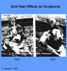 acid rain are natures own sculptors Effects on sculptures: there are many examples in both the u s and europe of the corrosive effects of acid rain on sculptures many sculptures.