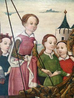 Kölnisch, um 1490-1500, Martyrium der hl. Cordula, Wallraf-Richartz-Museum 15th Century Fashion, 15th Century Clothing, 14th Century, Medieval Clothing, Historical Clothing, German Outfit, Catherine Of Aragon, Holy Roman Empire, Dark Ages