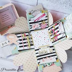 This is how the explosion box looks like.  Materials mainly from Crate Paper Hello Love collection. #explosionbox #DIYcraft #DIYgift #papercraft #cratepaper #handmadegift