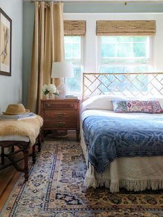 Vintage Love this boho bedroom with blue oriental rug, bamboo bed and vintage bedspread - Verdoir is a boutique interior design firm in New York City. Tour this home with a boho, eclectic vibe and perfect blend of old and new. Vintage Modern, Vintage Home Decor, Style Vintage, French Vintage, Home Decor Bedroom, Master Bedroom, Bedroom Ideas, Bedroom Styles, Master Suite