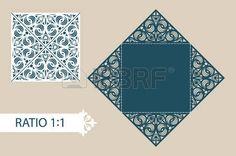 corte por láser: Disposición tarjetas plegables cuadrados. El patrón es conveniente para las tarjetas de felicitación, invitaciones, menús, etc. La plantilla adecuada para el corte por láser, plotter de corte, troquelado o estampación. Vector. Fácil de editar
