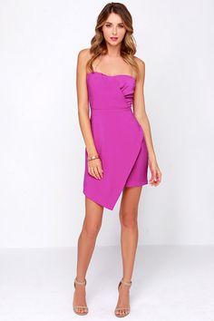 Sweet Moves Magenta Strapless Dress at Lulus.com!