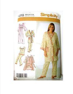 Damen Nachthemd Bademantel, Hausmantel, Schlafanzug, Baby-Doll-Pyjamas, Nachthemd, Einfachheit Muster 4319, Womens Misses AA Größe XS S M Unterwäsche, 2005