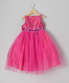 This Fuchsia Jewel & Tulle Dress - Infant, Toddler & Girls is perfect! #zulilyfinds