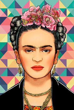 Frida Pattern Art Print by Ultrabit Designs - X-Small Acrylic Painting Canvas, Canvas Art Prints, Freida Kahlo, Frida Paintings, Holi Photo, Frida Kahlo Portraits, Frida Art, Portrait Cartoon, Skeleton Art