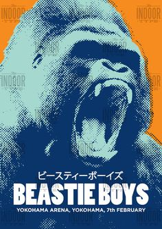 Beastie Boys concert poster art. This stunning print would make a great addition to any music lovers home. The print features a bold graphic of a half-tone gorilla and celebrates the Beastie Boys gig at the Yokohama Arena on the 7th February, 1999. All of our prints are produced to the highest standards using the finest 235gsm cotton rag fine art paper. The natural white paper we use works beautifully with our long lasting vibrant inks and gives our prints great depth and quality. Colours…