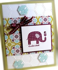 Me, My Stamps and I: Simply Simple and a Sneak Peek  Stamps: Patterned Occasions Paper: River Rock, Rich Razzleberry, Whisper White, Sycamore Street DSP Ink: Rich Razzleberry Accessories: stitched ribbon, pearls Tools:  Big Shot, Honeycomb EF, dimensionals