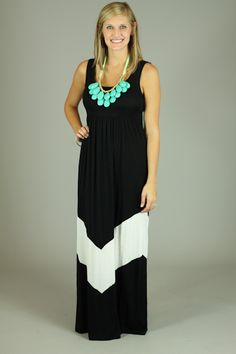 AIM TO PLEASE MAXI DRESS...A maxi dress + chevron print=AWESOME! Have you ever been on the fence about trying a maxi dress? You don't have to be anymore! This one is great for all body types. The super soft material will keep you comfy while wearing this dress. We love the black and white color scheme, so classic! This one is even bra friendly!!:)