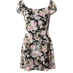 Black And Lilac Rose Button Down Tea Dress ($50) ❤ liked on Polyvore featuring dresses, lilac dress, flower print dress, black summer dress, floral summer dresses and tea dress