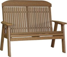 LuxCraft Poly 4'  Classic Garden Bench Place your new bench in the garden and enjoy the comfort, color, durability and low maintenance. Gorgeous back on this bench that you can lean against. Pick from a variety of earth tones.