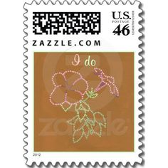 Custom Morning Glory Pink Green and Brown Wedding Invitation Stamps, a fun look with pointillism flowers.  #wedding #stamps