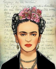 Check out the flowers in Kahlo's hair. Diego Rivera, Fridah Kahlo, Kahlo Paintings, Frida And Diego, Frida Art, Cartoon Sketches, Mexican Folk Art, Illustration Art, Canvas Art