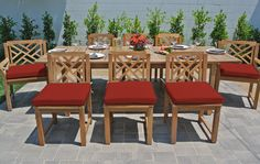 Foundry Select Vermehr 9 Piece Teak Sunbrella Dining Set with Cushions Cushion Color: Jockey Red Teak Dining Table, Outdoor Dining Set, Patio Furniture Sets, Garden Furniture, Furniture Design, Kitchen Cabinet Colors, Contemporary Furniture, Patio Ideas