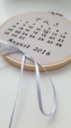 Originelles Ringkissen für die Hochzeit, gesticktes Ringkissen mit Hochzeitsdatum / stitched ring cushion for your wedding, wedding accessories made by Mariposa-Art via DaWanda.com