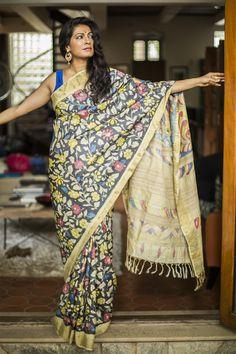 Pure tussar saree with allover hand painted kalamkari work
