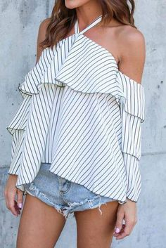 Fashion New Arrival Womens Sexy Hanging Neck Off Shoulder Ladies Casual Striped Shirt Tops White Blouse Top Chiffon, Bell Sleeve Blouse, On Repeat, Blouse Outfit, Off Shoulder Tops, Cold Shoulder, Blouse Styles, Blouses For Women, Long Sleeve Shirts