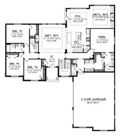 Floor Plans AFLFPW76370 - 1 Story Traditional Home with 4 Bedrooms, 2 Bathrooms and 2,614 total Square Feet