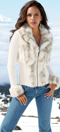 stylish fur trimmed sweater jacket,,, Oh my! My daughter would <3 this jacket!!