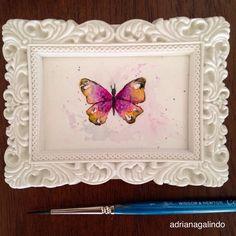 Amor em miniatura, aquarela emoldurada, 4×6.5cm  little love, framed miniature watercolor / borboleta / buttefly / natureza / nature  drigalindo1@gmail.com