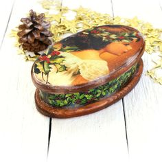 Christmas Oval Box Beautiful Girl With Holly by Alenahandmade