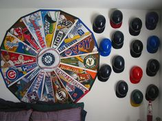 Heres a good way to use up those sports pennants your kids collect when they go to a game.