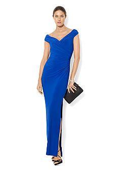 Lauren Ralph Lauren Cap-Sleeved Matte Jersey Ruched Evening Gown