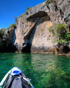 A trip to the Maori rock carvings in Mine Bay is a must do for anyone visiting Lake Taupo. There are a number of cruise operators that will take you there as they are only accessible from the water. But if you really want to get up close and personal with this impressive 10m high carving, paddling is the way to go.