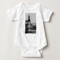 Fierce Waves At St Joseph Grayscale Baby Bodysuit - photography gifts diy custom unique special
