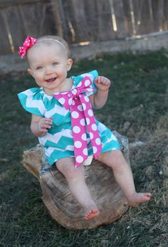 Easter dress. Turquoise Chevron Pink Polka Dot Bow Peasant Dress - Baby Girl