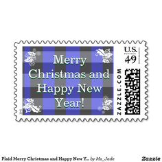 Plaid Merry Christmas and Happy New Year Stamp Sheet -- Top off your #gifts to #mail with this #cozy #customizable #postage #stamp for your #friends and #family this #holiday #season. #Plaid #tartan #Christmas #New #Year #NewYear #greeting #HolidaySeason #winter  #StampBook #postage