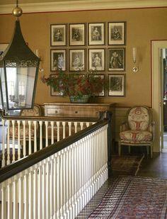 upstairs hall ~ Suzanne Rheinstein love the picture arrangement