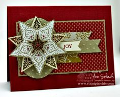 Stampin' Up! handmade Christmas card from The Stampin' Schach ... deep red with white and kraft ... rich look ... medallion focal point made withBright and Beautiful embossed, die cut and layered star on an oval .. fishtail banners ... patterned paper ... luv the layout ... great card!