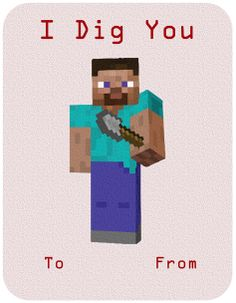 Minecraft inspired Valentine Cards - DIY