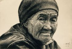Sketch. An old woman