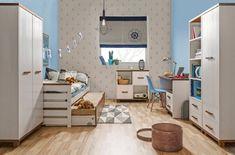 Idealne dla młodzieży w różnym wieku. Kids Room Design, Bauhaus, Corner Desk, Toddler Bed, Kids Rugs, Furniture, Home Decor, Desktop, Minimalist