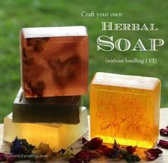 How To Make Herbal Soap Without HANDLING Lye. This how to make herbal soap recipe is so easy to make and you can even get your kids involved with this new DIY project. Diy Savon, Savon Soap, Making Soap Without Lye, Soap Making, Diy Soap Recipe Without Lye, Home Made Soap Without Lye, How To Make Soap, Lotion En Barre, Handmade Soaps