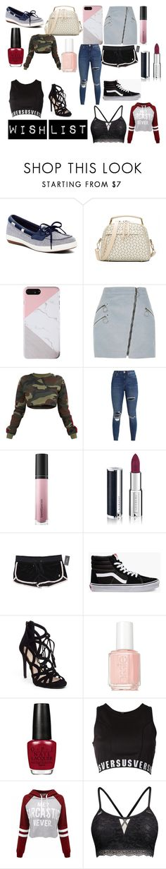 """Wish list"" by bpollington ❤ liked on Polyvore featuring Keds, River Island, Bare Escentuals, Givenchy, Juicy Couture, Vans, Jessica Simpson, Essie, Versus and WithChic"