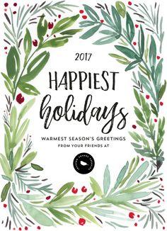 mod wreath new year greeting cardsnew - Holiday Cards 2017