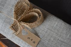 Burlap Heart Wedding place setting/name tags by LaPommeEtLaPipe, $1.50