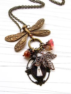 """""""The Keyhole"""" Necklace - Handmade jewelry - Love the Dragonfly...."""