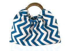 Teal & White Chevron Cotton Handbag With Natural by JetSetCoco, $60.00