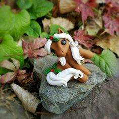 Christmas Holly Palomino Filly By Whisper Fillies Whisperfillies.etsy.com Unique handmade polymer clay horse, pony, unicorn and fantasy creatures Find me on Instagram and Facebook too!