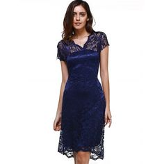 Just US$6.97, buy Purplish blue Sweet Short Sleeve V-Neck Women's Lace Dress online shopping at GearBest.com Mobile.
